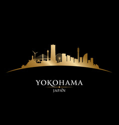 Yokohama japan city skyline silhouette black vector