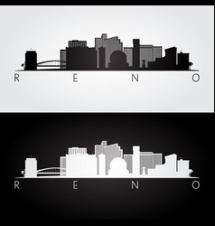 Reno usa skyline and landmarks silhouette vector