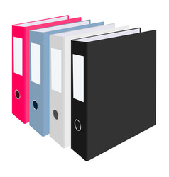 Blank closed office binders set isolated on white vector