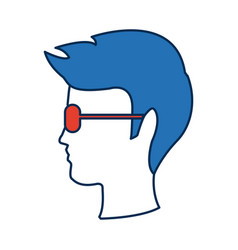 Profile man head wear glasses character hairstyle vector