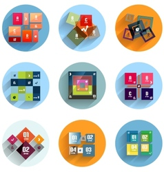Geometric flat templates icon set vector
