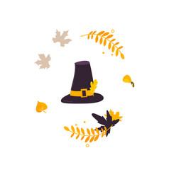 Cartoon pilgrim hat and fall autumn leaves vector
