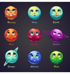 Set of cartoon funny planets of the solar system vector