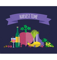 Harvest food icons objects vector