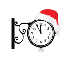 Old clock with happy new year hat vector