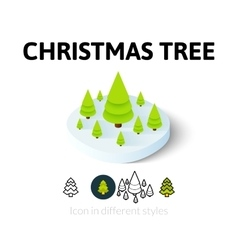 Christmas tree icon in different style vector