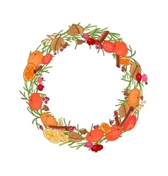 Round festive wreath with fruits and leaves vector