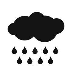 Cloud with drops simple icon vector