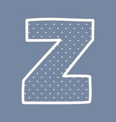 Z alphabet letter with white polka dots on blue vector