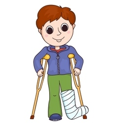 Cute boy with the broken leg vector