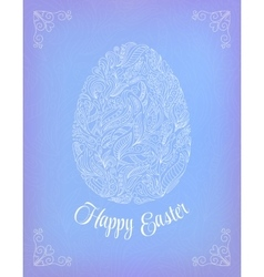 Happy easter card doodle ornate white floral egg vector