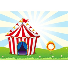 A circus tent and the ring with fire vector image