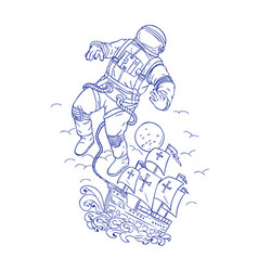 Astronaut tethered caravel ship drawing vector