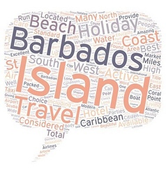 Barbados holidays text background wordcloud vector