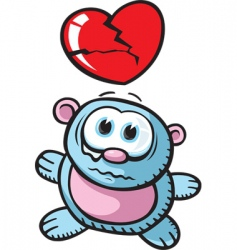 broken heart bear vector image vector image