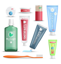Dental care products realistic set vector
