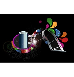 film strip with colorful swirls vector image