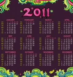floral calendar for 2011 vector image
