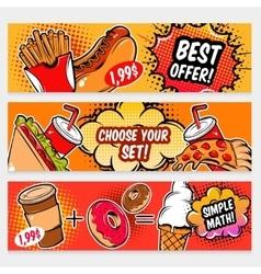 Food comics banner set vector