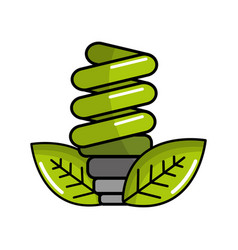 green energy save bulb with leaves icon vector image