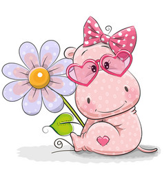 Greeting card hippo with flower vector