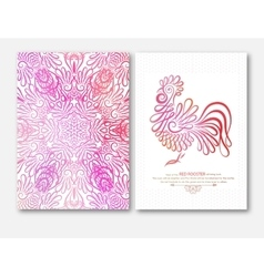 Happy new year design with wishes rooster symbol vector