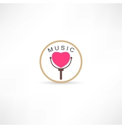 heart mic icon vector image