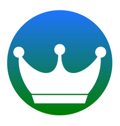 King crown sign white icon in bluish vector
