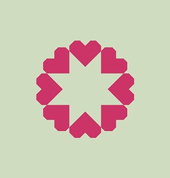 Letter O logo from geometric hearts as a flower vector image vector image