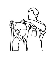 male doctor measuring the current height vector image