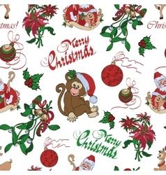 Merry christmas santa mistletoe seamless vector