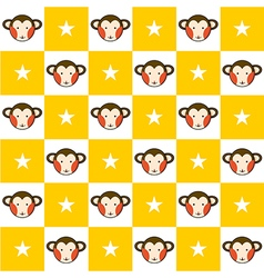 Monkey star yellow white chess board background vector
