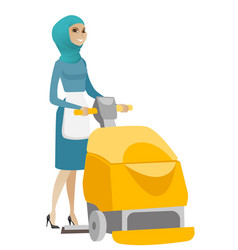 Muslim worker cleaning store floor with machine vector