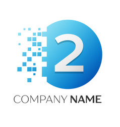 number two logo symbol in colorful circle vector image