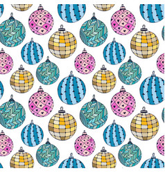 seamless bright pattern with christmas balls new vector image vector image