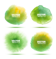 set of bright green watercolor circle stains vector image vector image