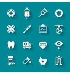 Set of white flat medical icons vector image vector image