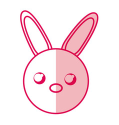 shadow rabbit face cartoon vector image
