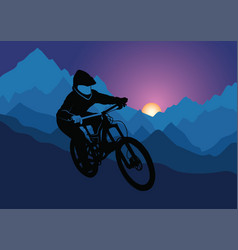 silhouette of a racer descending on a bicycle on a vector image vector image
