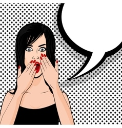 Surprised brunette girl halftone pop art vector