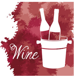 wine bucket with bottles vintage image vector image vector image
