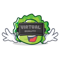 With virtual reality lettuce character cartoon vector