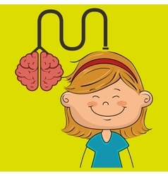 Girl brain cable idea vector