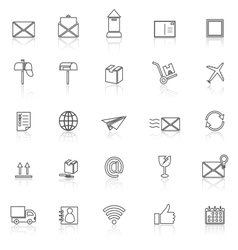Post line icons with reflect on white background vector image