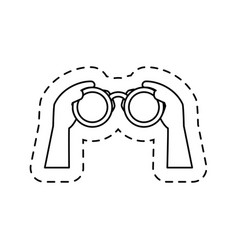 Hands human with binoculars view isolated icon vector