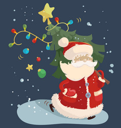 Santa claus with a fir tree vector