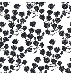 Floral seamless texture with magnolia vector