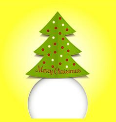 Merry Christmas ribbon paper green vector image
