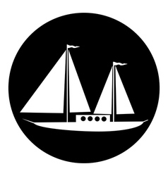 Sailing ship button vector