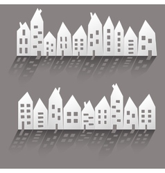 Paper houses with long shadow vector